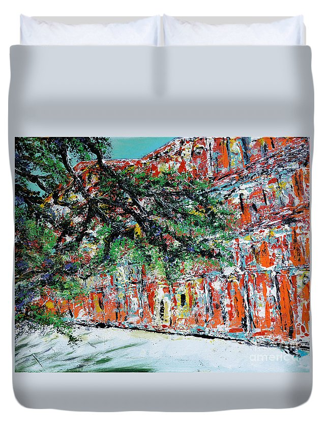 French Quarter Duvet Cover featuring the painting Upper Pontalba Building by Alys Caviness-Gober
