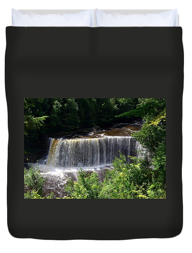 Rivers Duvet Cover featuring the photograph Upper Tahquamenon Falls by Michelle Calkins