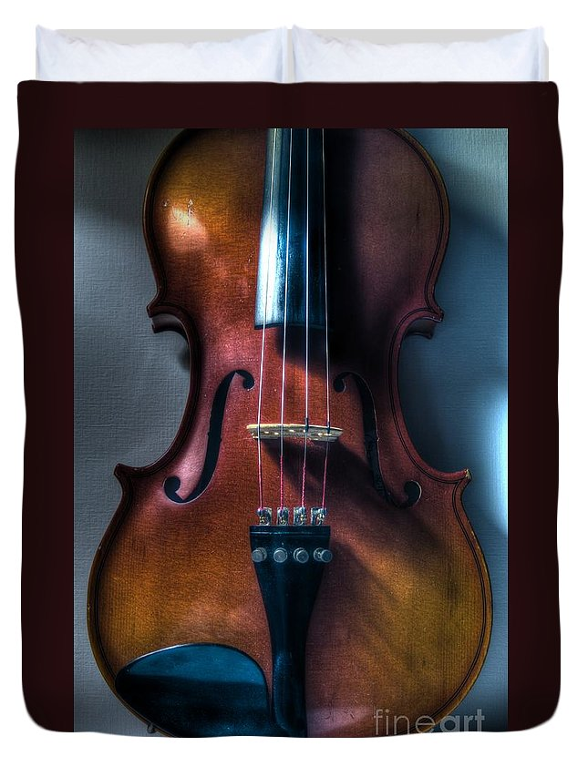 Violin Duvet Cover featuring the photograph Upright Violin - Cool by J M Lister
