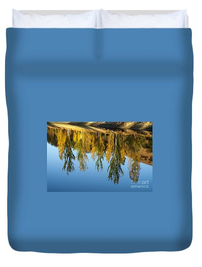 Napa Valley California Tree Trees Fall Abstract Colors Autumn Leaves Lake Lakes Water Pond Ponds Shoreline Reflection Reflections Landscape Landscapes Waterscape Waterscapes Duvet Cover featuring the photograph Upside Down  by Bob Phillips