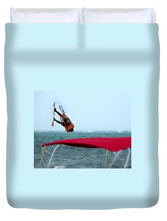 Wind Surfing Duvet Cover featuring the photograph Upside Down World by Karen Wiles