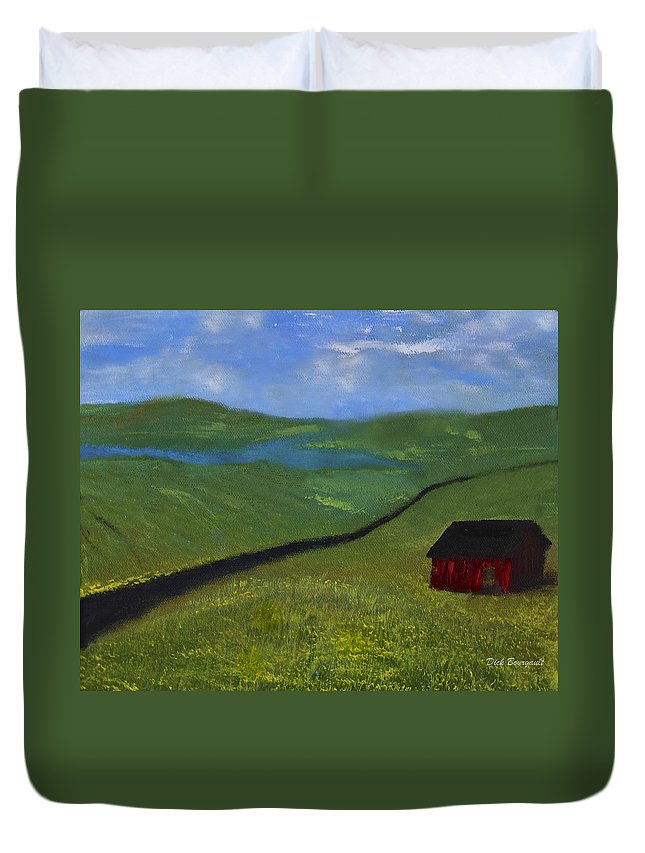 Farm Duvet Cover featuring the painting Upstate Lakes Region by Dick Bourgault