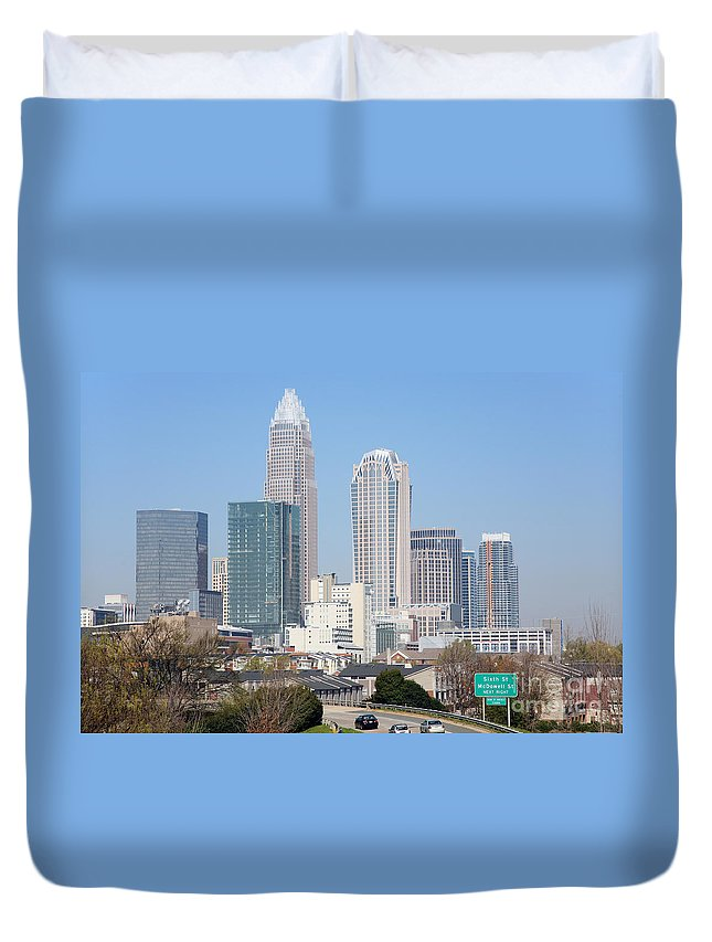 Bank Of America Duvet Cover featuring the photograph Uptown Charlotte Skyline by Bill Cobb