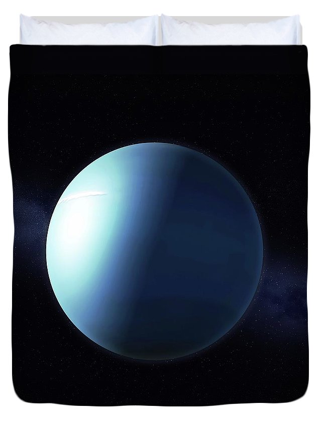 Shadow Duvet Cover featuring the digital art Uranus, Artwork by Science Photo Library - Andrzej Wojcicki