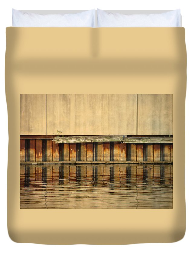 Urban Duvet Cover featuring the photograph Urban Abstract River Reflections by Anita Burgermeister