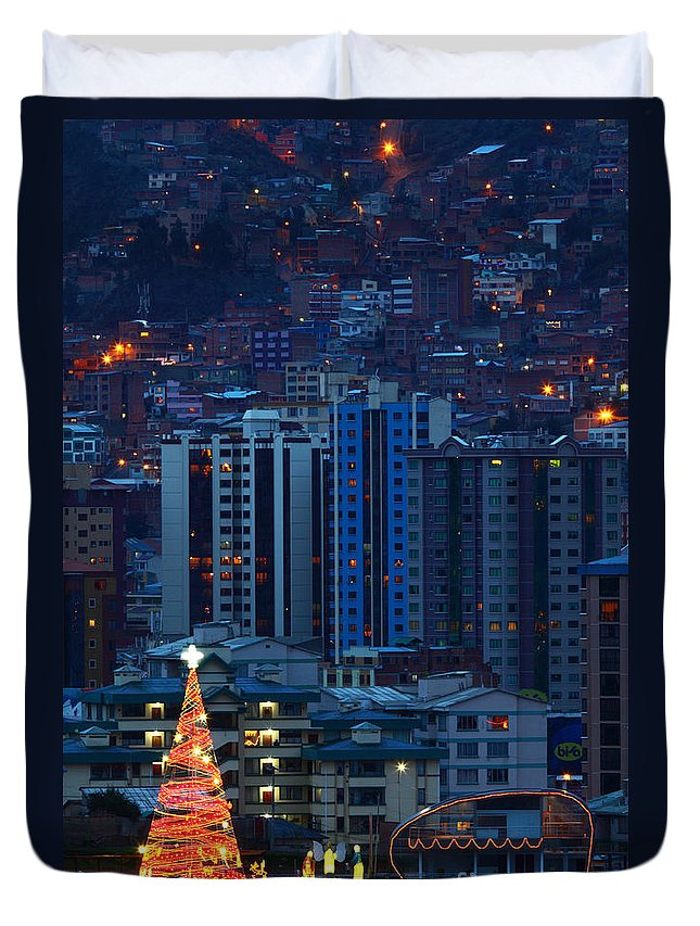 Christmas Duvet Cover featuring the photograph Urban Christmas Tree by James Brunker