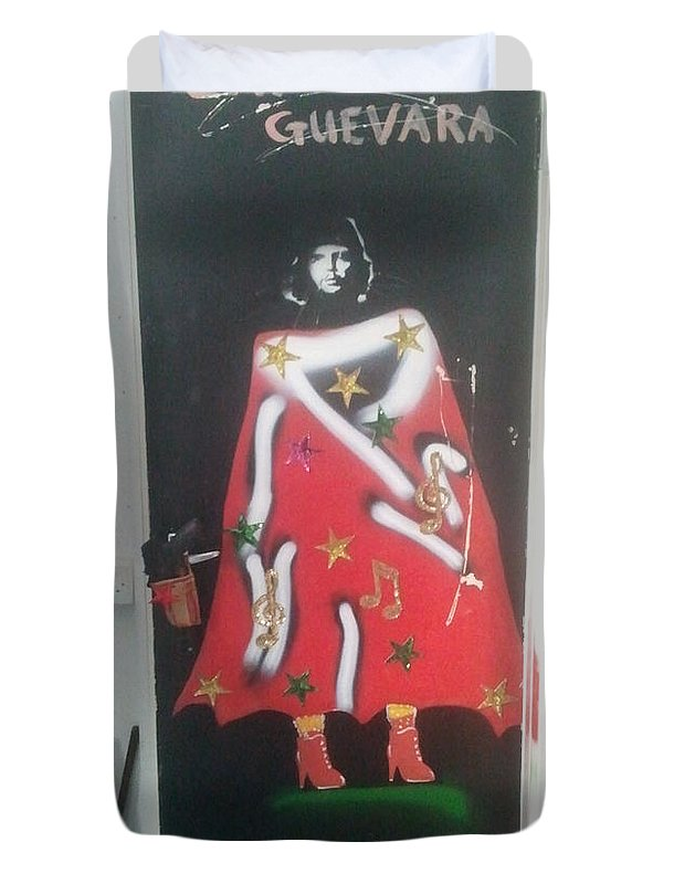 Figurative Duvet Cover featuring the painting Urban Gorrilla Gay Guevara With Gun And Holster by MERLIN Vernon