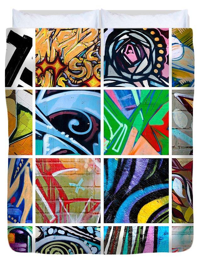 Street Art Duvet Cover featuring the photograph Urban Street Art by Art Block Collections