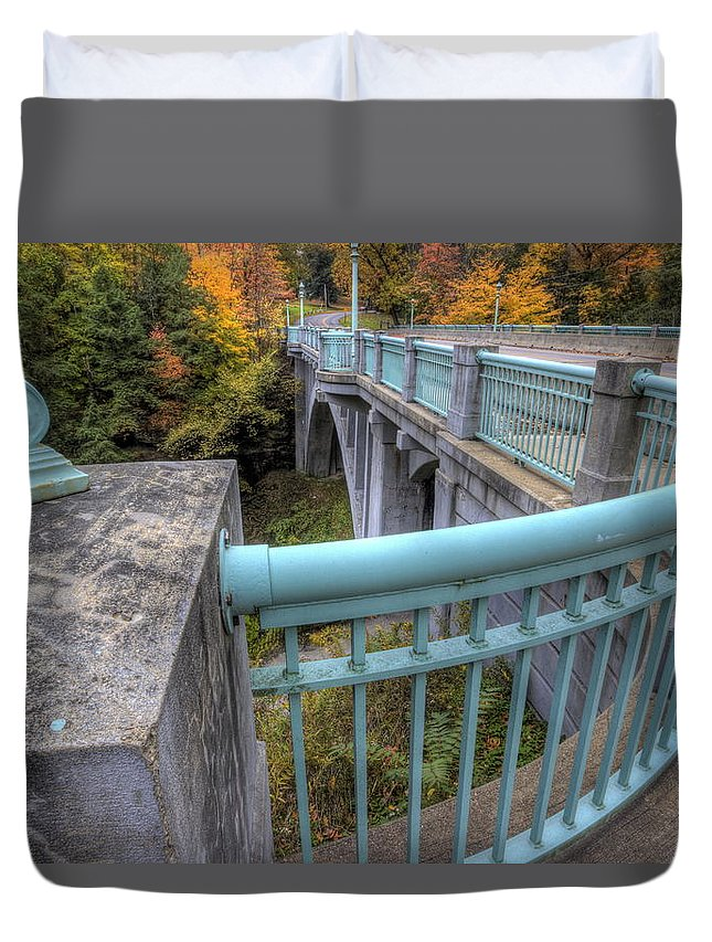 Us Route 62 Duvet Cover featuring the photograph Us 62 At Mill Creek Park In Fall by David Dufresne