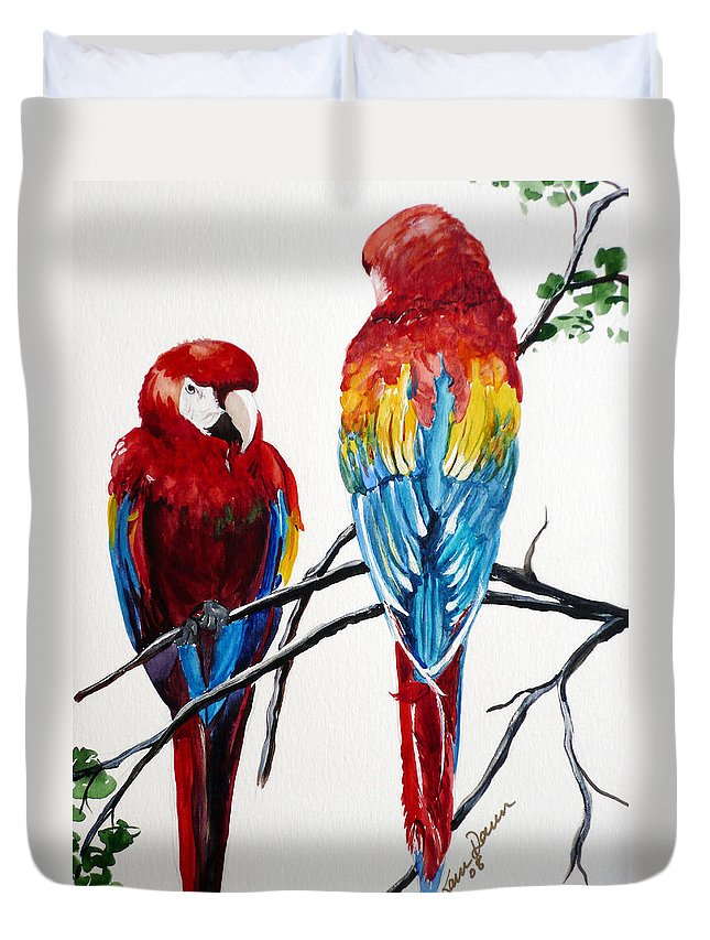 Macaws Duvet Cover featuring the painting Us Friends by Karin Dawn Kelshall- Best