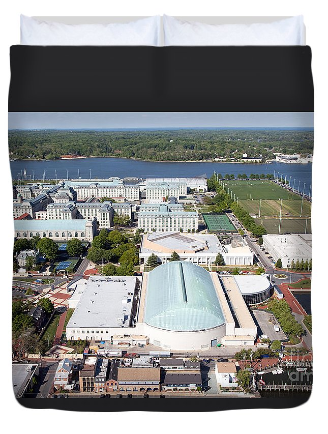 Academy Duvet Cover featuring the photograph Us Naval Academy by Bill Cobb