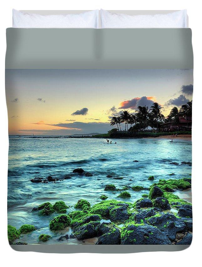 Scenics Duvet Cover featuring the photograph Usa, Hawaii, Kauai, Poipu Beach by Michele Falzone
