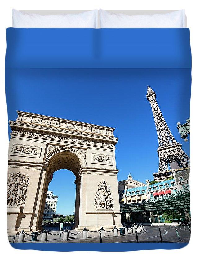 Arch Duvet Cover featuring the photograph Usa, Nevada, Las Vegas, Paris Las Vegas by Sylvain Sonnet