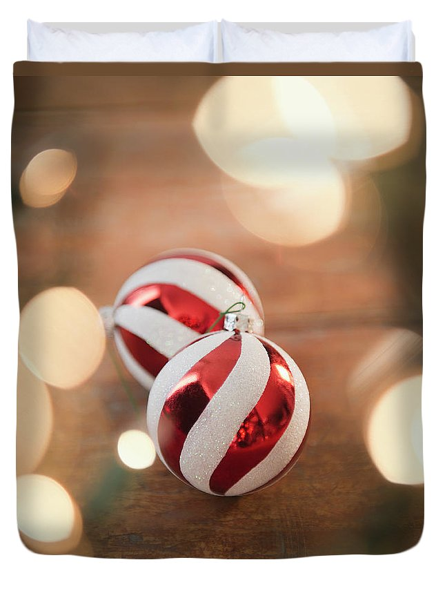 Christmas Ornament Duvet Cover featuring the photograph Usa, New Jersey, Jersey City, Christmas by Jamie Grill