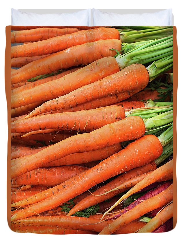 Orange Color Duvet Cover featuring the photograph Usa, New York City, Fresh Carrots by Tetra Images