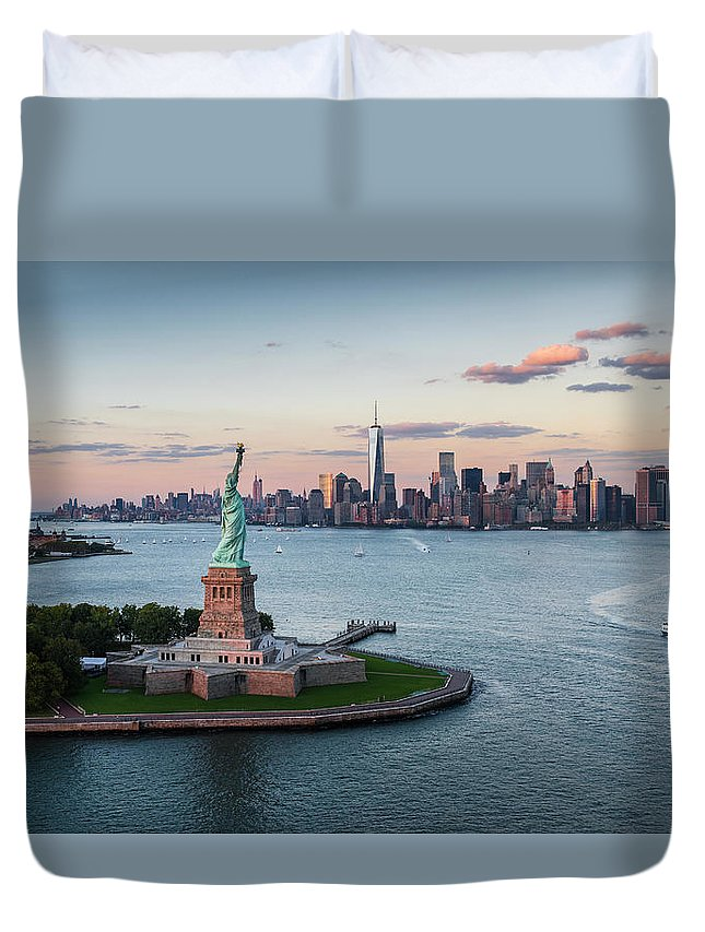 Tourboat Duvet Cover featuring the photograph Usa, New York State, New York City by Tetra Images