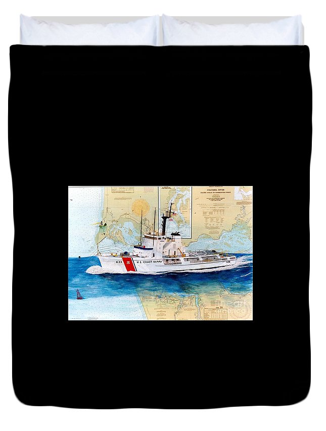 United Duvet Cover featuring the painting Uscg Alert Coast Guard Chart Map Art Peek by Cathy Peek