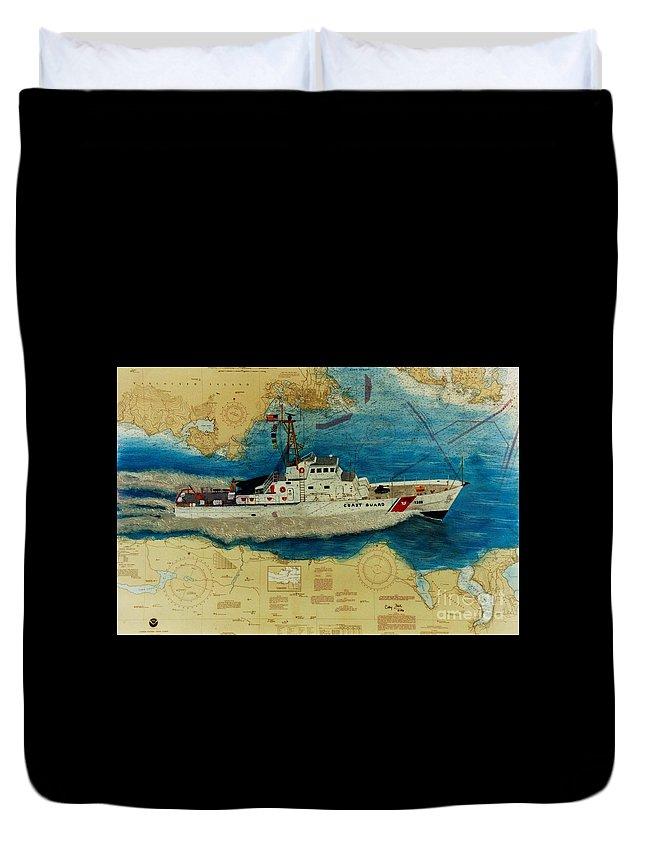 United Duvet Cover featuring the painting Uscg Cuttyhunk Nautical Chart Art Peek by Cathy Peek