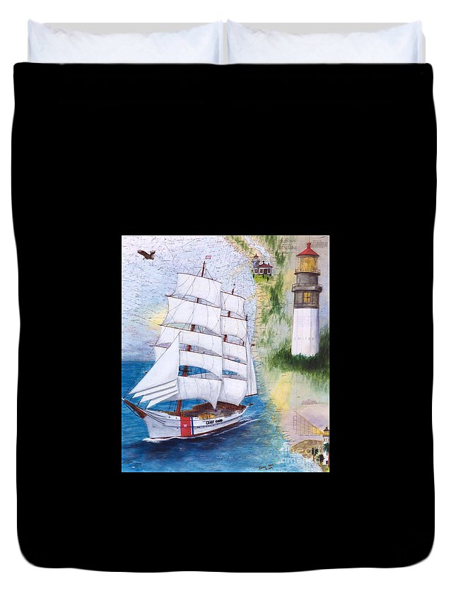 United Duvet Cover featuring the painting Uscg Tall Ship Eagle Chart Art Peek by Cathy Peek