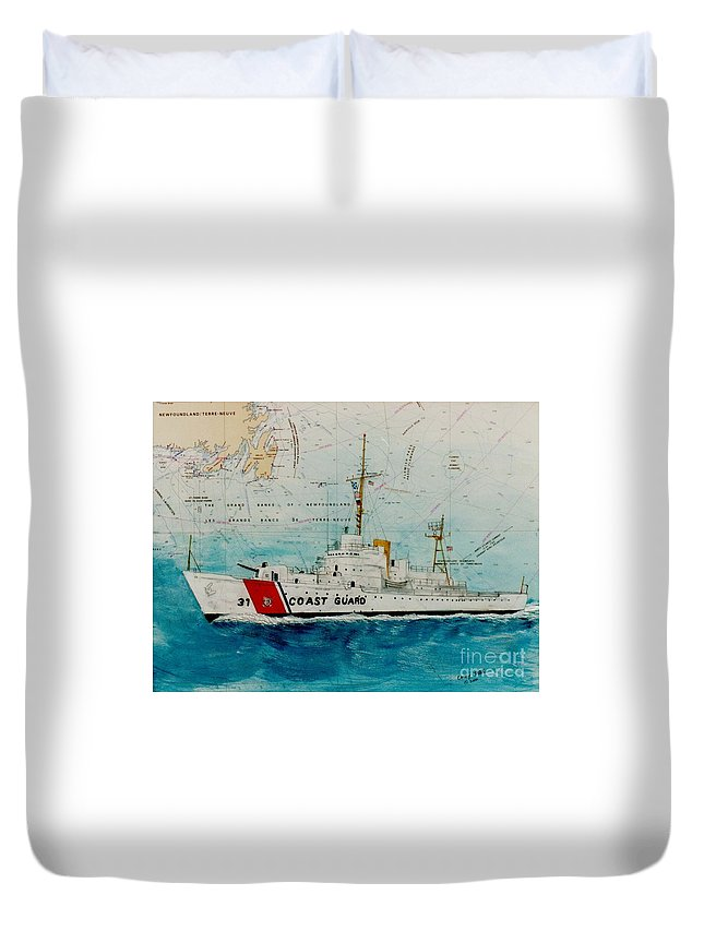 United Duvet Cover featuring the painting Uscgc Bibb Nautical Chart Cathy Peek by Cathy Peek