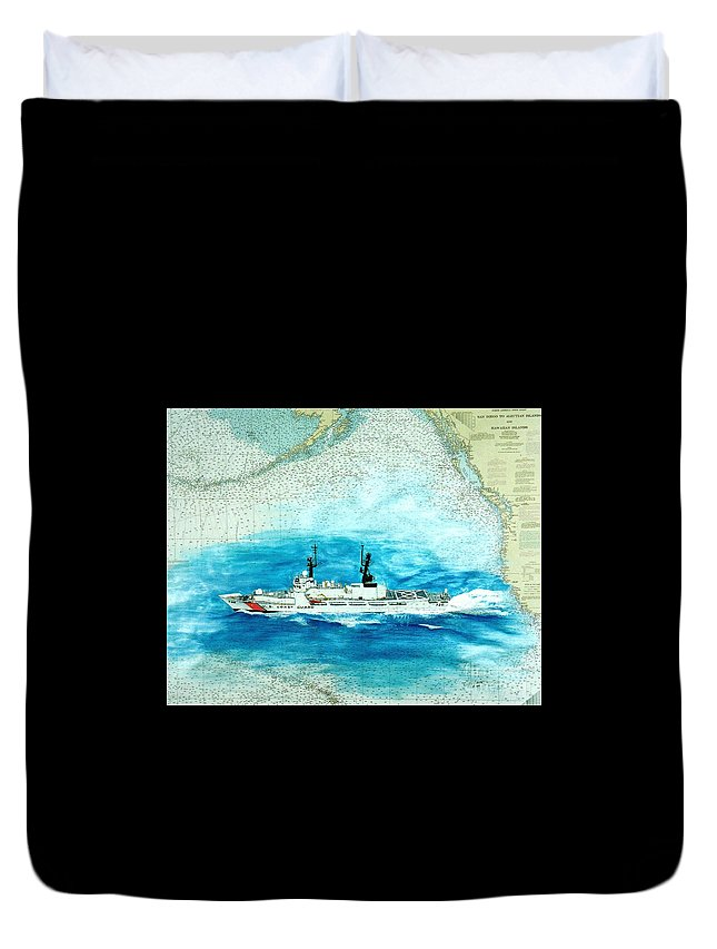 United Duvet Cover featuring the painting Uscgc Sherman Nautical Chart Cathy Peek by Cathy Peek