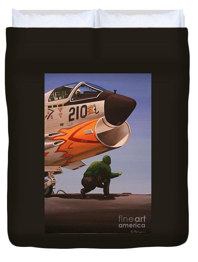 Aircraft Carrier Duvet Cover featuring the painting Uss Forrestal Vought Corsair by Richard John Holden RA
