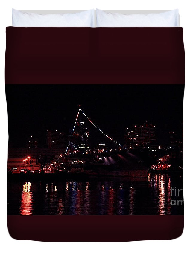 Uss Midway Duvet Cover featuring the photograph Uss Midway At Night by Tommy Anderson