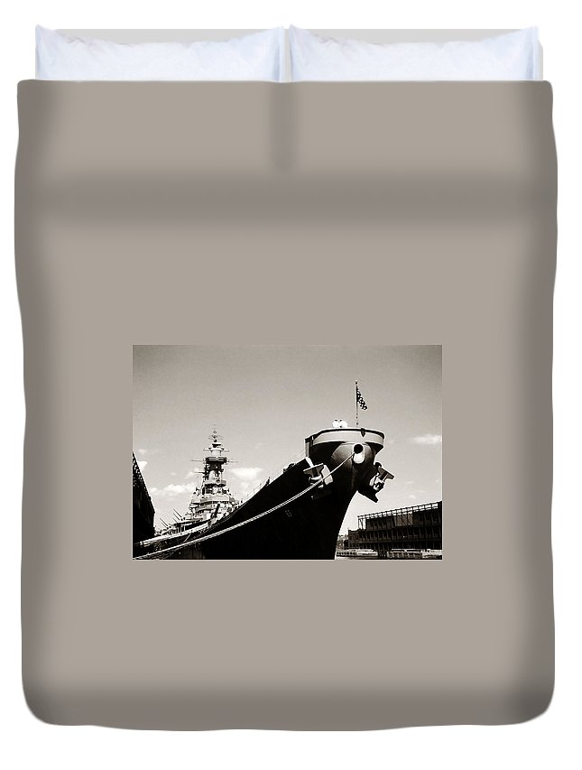 Uss Duvet Cover featuring the photograph Uss Missouri by Marilyn Hunt