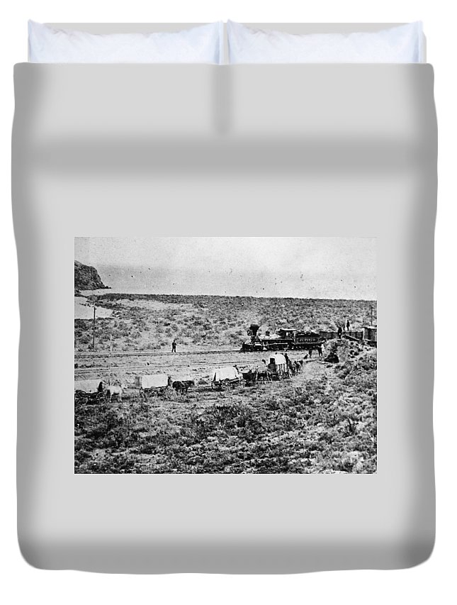1869 Duvet Cover featuring the photograph Utah Railroad, 1869 by Granger