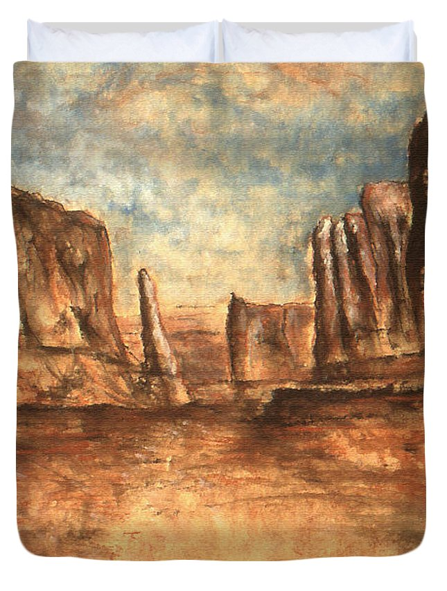 Landscape Duvet Cover featuring the painting Utah Red Rocks - Landscape Art by Peter Potter