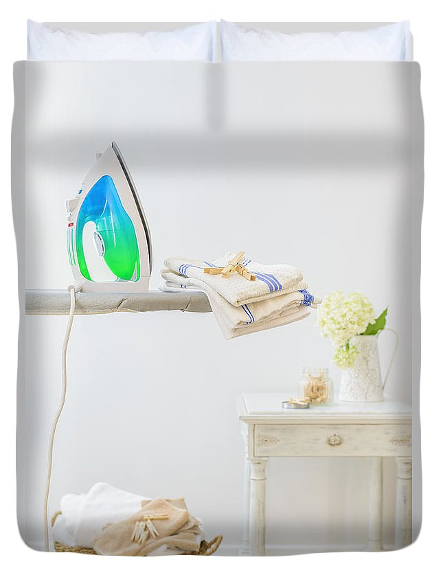 Laundry Duvet Cover featuring the photograph Utility Room by Amanda Elwell