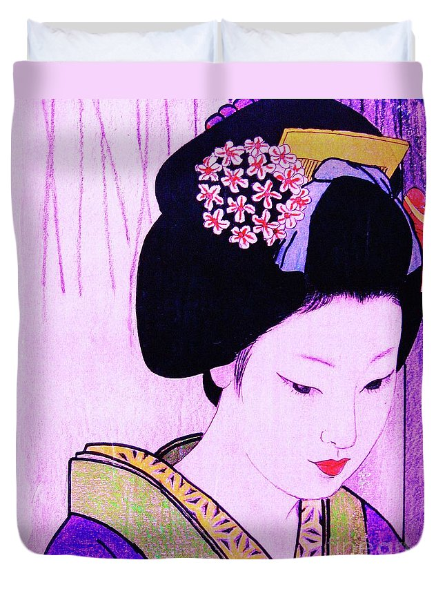 Figurative Duvet Cover featuring the painting Utsukushii Josei Ichi by Roberto Prusso