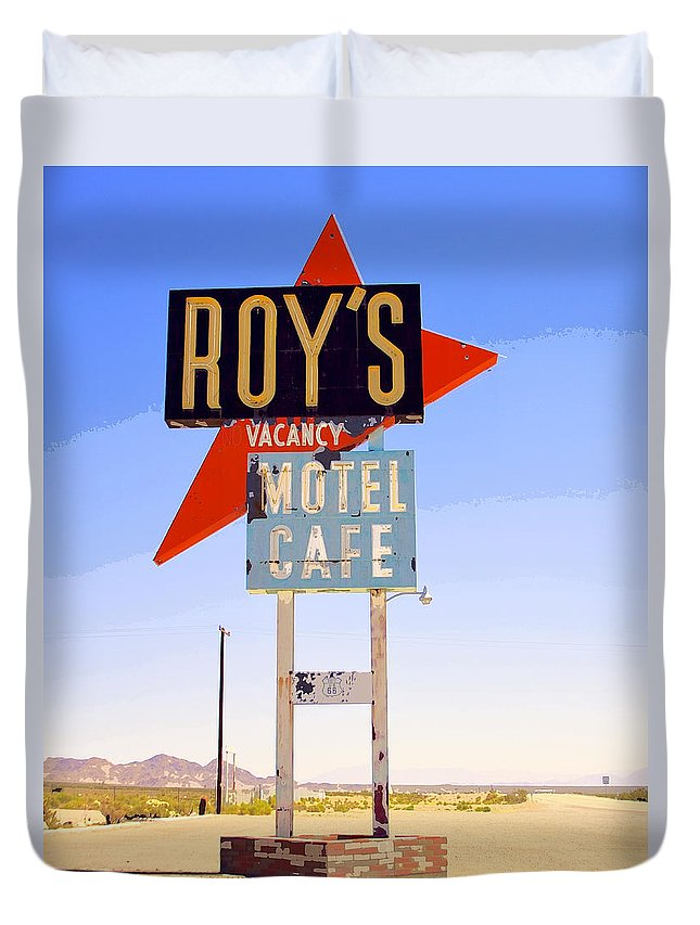 Roy's Duvet Cover featuring the photograph Vacancy Route 66 by William Dey