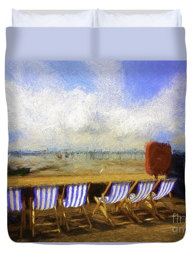 Clouds Duvet Cover featuring the photograph Vacant deckchairs by Sheila Smart Fine Art Photography