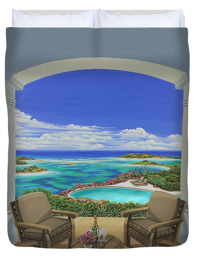 Ocean Duvet Cover featuring the painting Vacation View by Jane Girardot