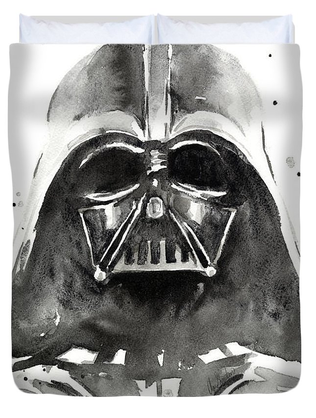 Watercolor Duvet Cover featuring the painting Darth Vader Watercolor by Olga Shvartsur