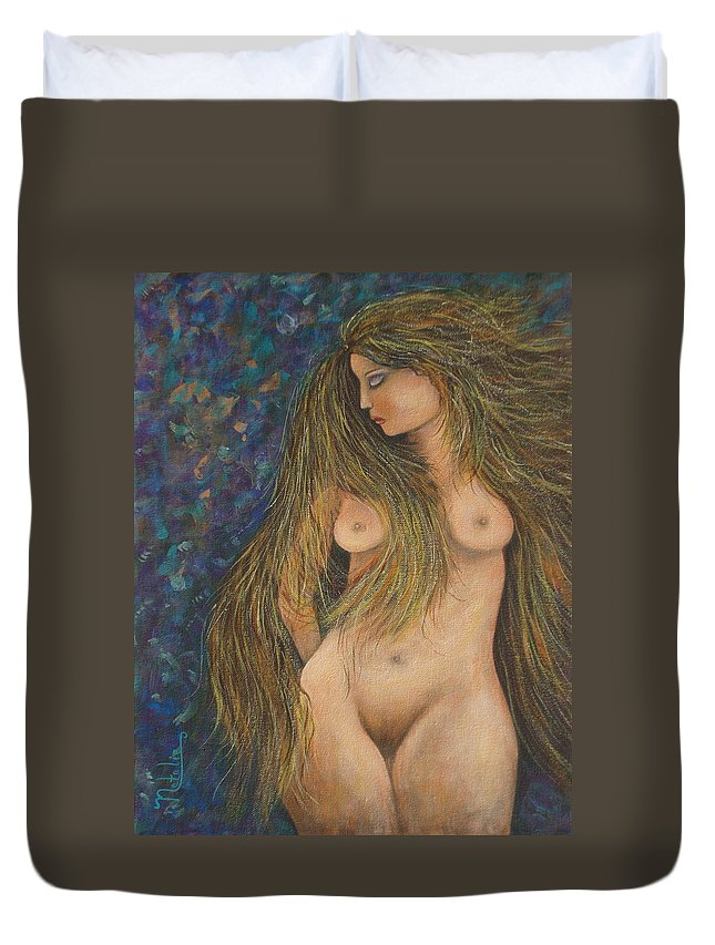 Woman Duvet Cover featuring the painting Valencina by Natalie Holland