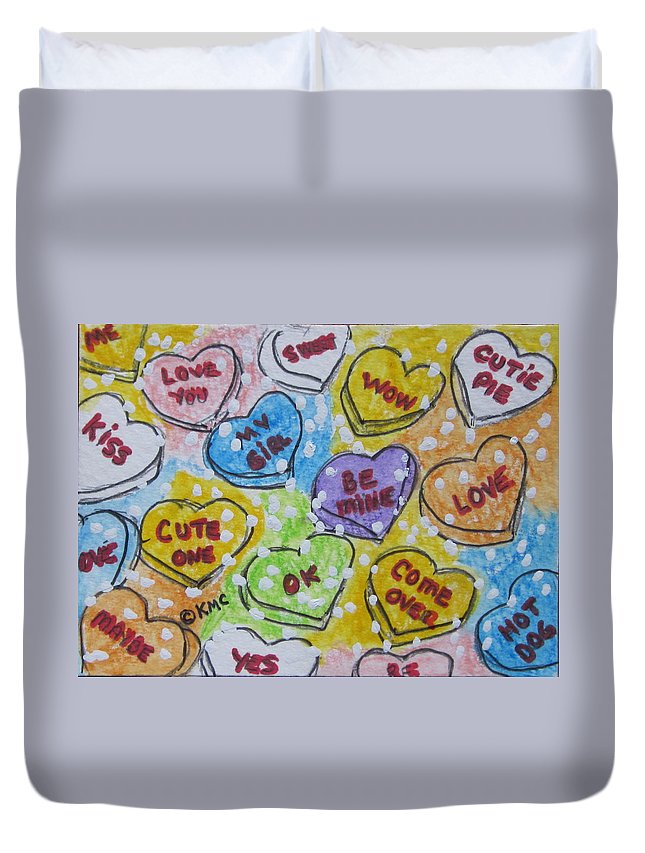 Valentine Duvet Cover featuring the painting Valentine Candy Hearts by Kathy Marrs Chandler