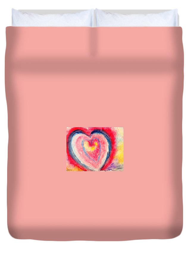 Holiday Duvet Cover featuring the painting Valentine Heart by Jamie Frier