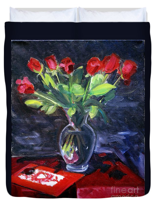 Red Roses Duvet Cover featuring the painting Valentine Roses by Candace Lovely
