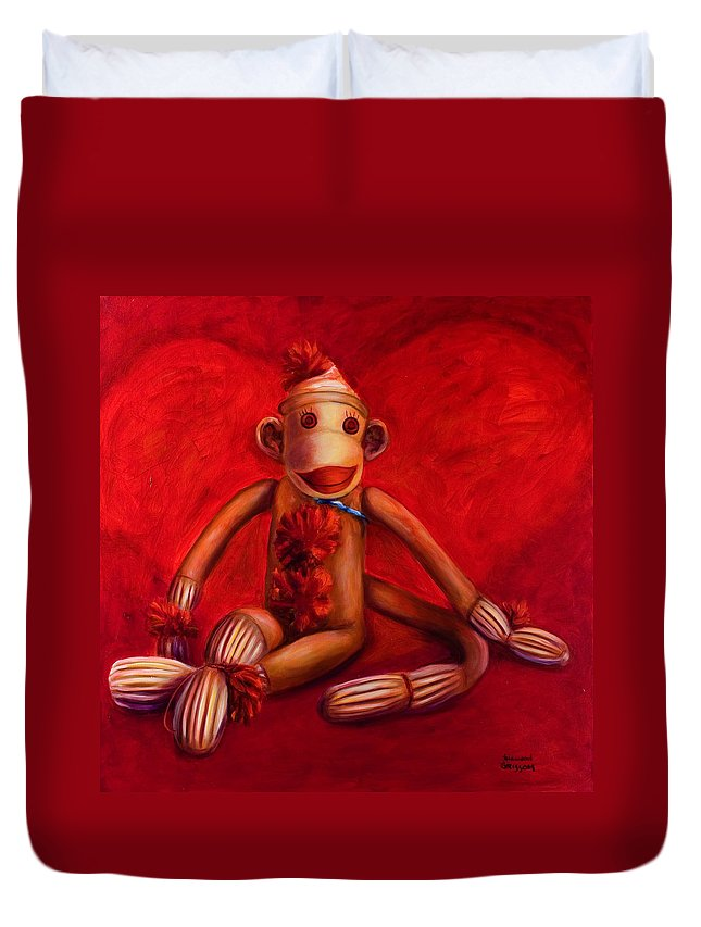 Children Duvet Cover featuring the painting Valentine by Shannon Grissom