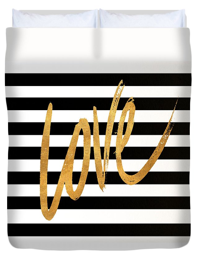 Valentines Duvet Cover featuring the digital art Valentines Stripes Iv by South Social Graphics