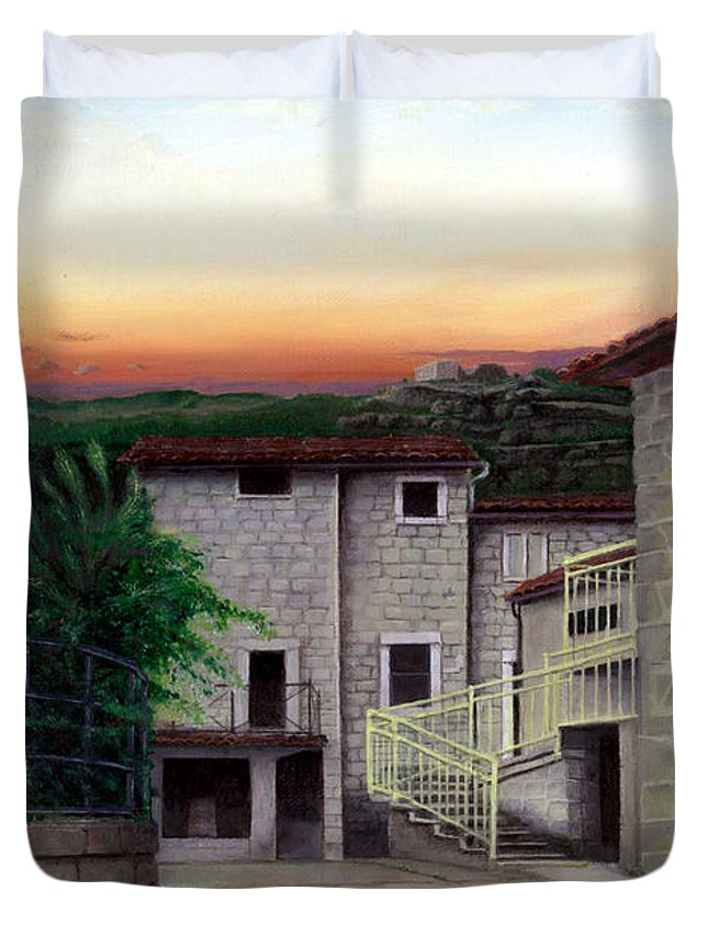 Vallecchia Duvet Cover featuring the painting Vallecchia De Monte Calvo by Albert Puskaric