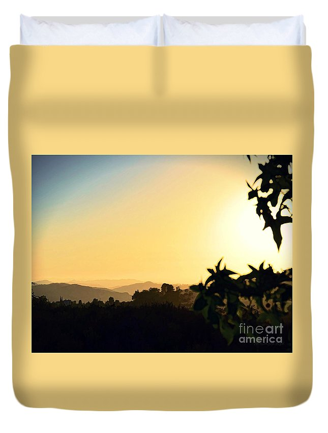 Digital Paint Effect Duvet Cover featuring the photograph Valley Center Sunset Digital Paint Effect by Sharon Tate Soberon