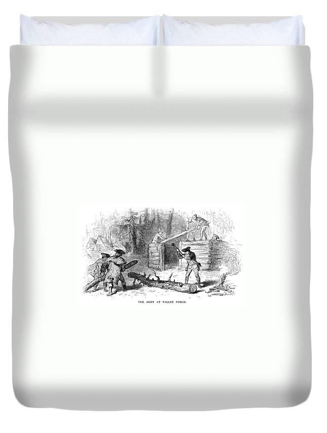 1777 Duvet Cover featuring the photograph Valley Forge: Huts, 1777 by Granger