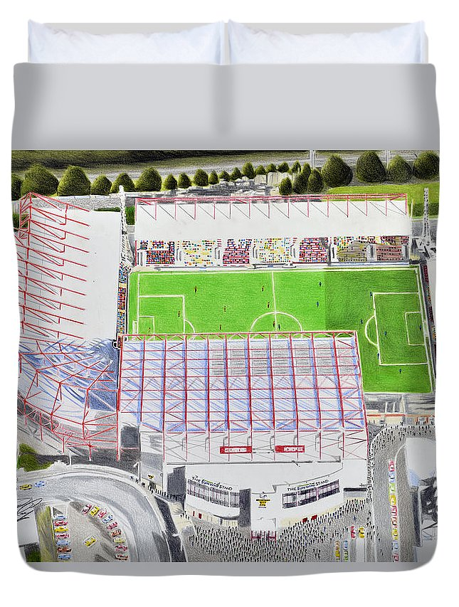 Painting Duvet Cover featuring the painting Valley Parade Stadia Art - Bradford City Fc by Brian Casey
