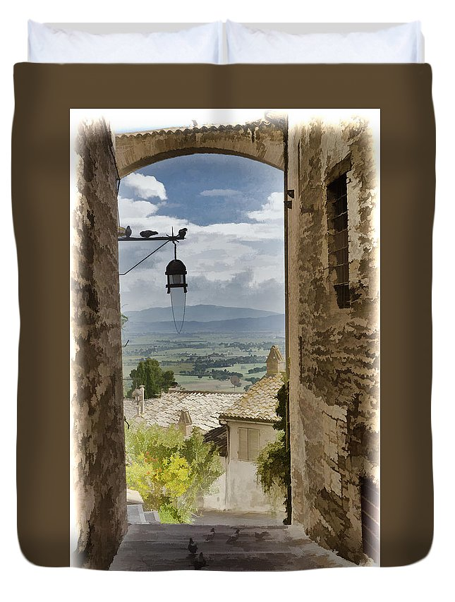 Italy Duvet Cover featuring the photograph Valley View - Assisi by Jon Berghoff