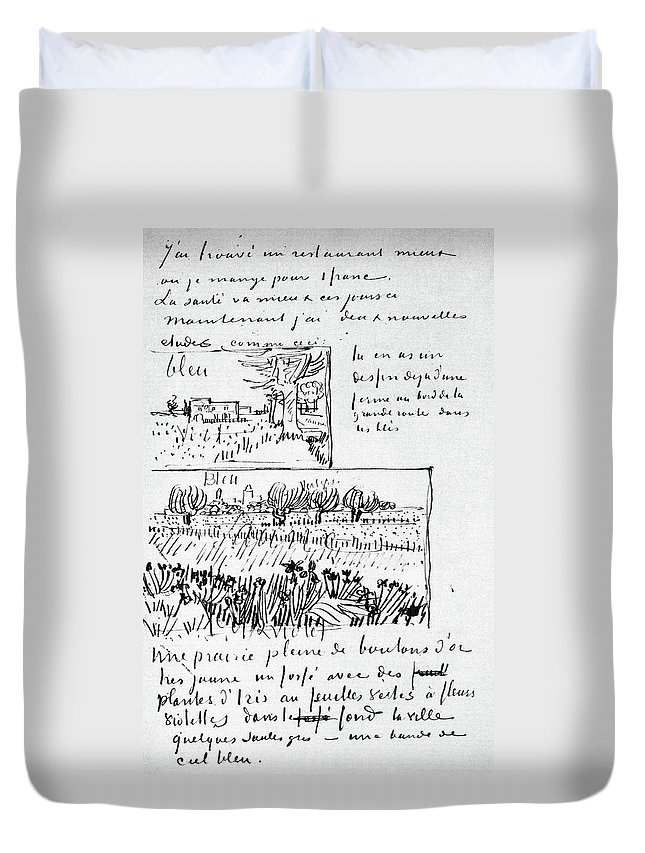 1888 Duvet Cover featuring the painting Van Gogh Letter, 1888 by Granger