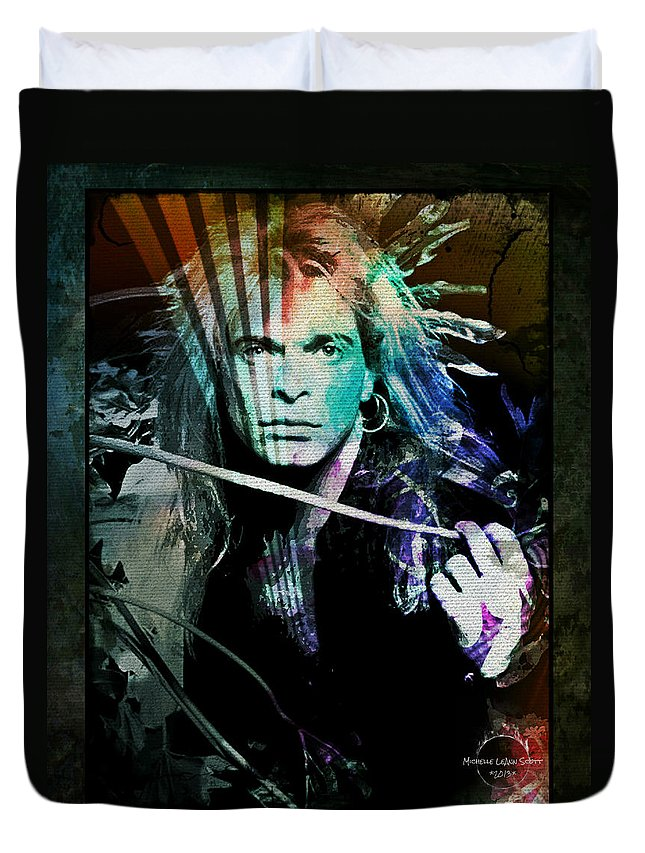 Van Halen Duvet Cover featuring the digital art Van Halen - David Lee Roth by Absinthe Art By Michelle LeAnn Scott