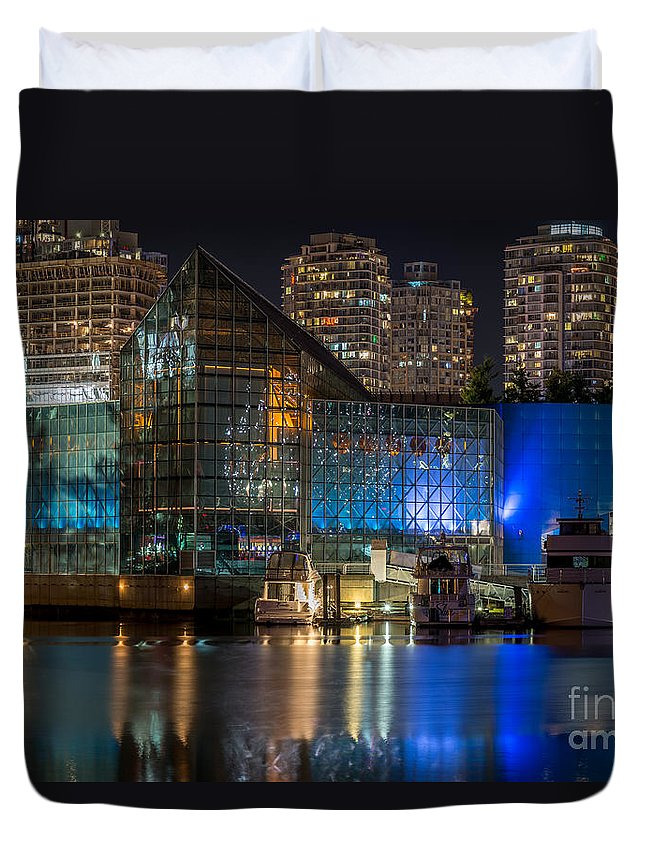 Architectural Photography Duvet Cover featuring the photograph Vancouver Plaza Of Nations - By Sabine Edrissi by Sabine Edrissi